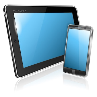 Digitale tablet-pc en smartphone geïsoleerd