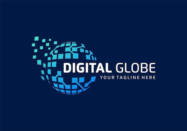 Digitale tech, globe data technologie logo ontwerp inspiratiesjabloon