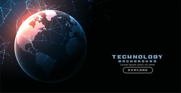 Digitale technologie aarde netwerk lijnen achtergrond Gratis Vector