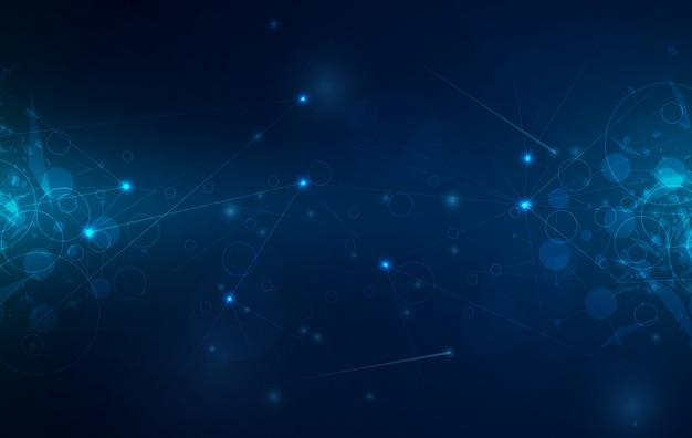 Digitale technologie achtergrond met gloeiende lijnen gaas