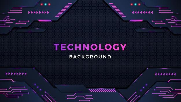 Digitale technologie achtergrondontwerp met kleurrijke vormen en lichteffecten