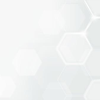 Digitale technologie achtergrondvector met hexagon patroon in witte toon
