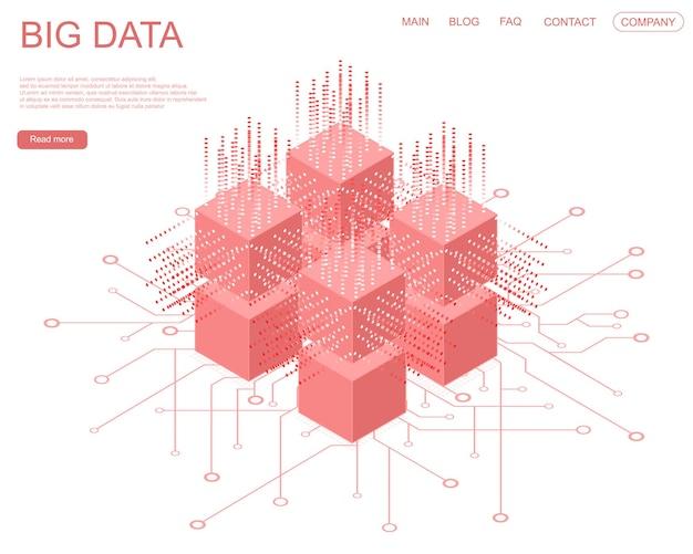 Digitale technologie kunstmatige intelligentie webbanner. big data machine learning-algoritmen. abstracte banneranalyse van informatie. isometrische weergave. rode kubus op witte achtergrond. vector illustratie