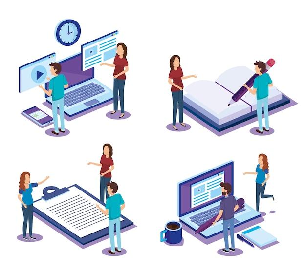 Digitale technologie met teamwerk isometrics