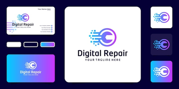 Digitale technologie verbetering logo inspiratie en visitekaartje inspiratie