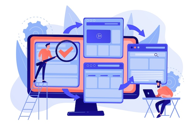 Digitale technologie. zoek machine optimalisatie. website constructeur