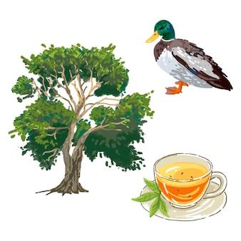 Digitale tekening boom pijnboom eend en kopje thee