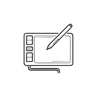 Digitale tekentablet hand getrokken schets doodle pictogram. digitaal grafisch tablet, digitaal illustratieconcept