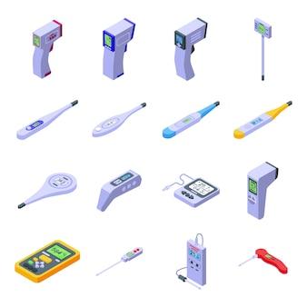 Digitale thermometer pictogrammen instellen. isometrische reeks digitale thermometerpictogrammen voor web dat op witte achtergrond wordt geïsoleerd