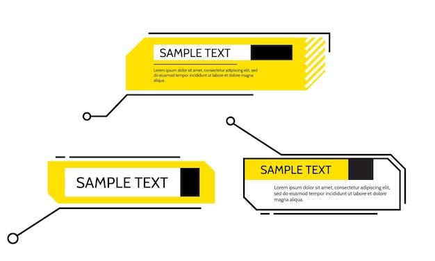 Digitale toelichtingen titel frame tekst hud set sjablonen moderne banners vector ontwerpelement