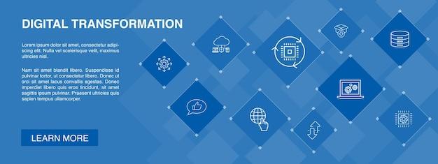 Digitale transformatie banner 10 pictogrammen concept digitale diensten cloud computing eenvoudige pictogrammen