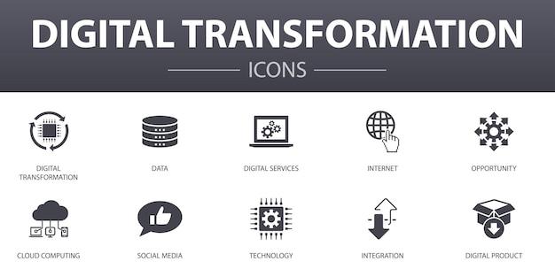 Digitale transformatie eenvoudig concept iconen set. bevat iconen zoals digitale services, internet, cloud computing, technologie en meer, kan worden gebruikt voor web, logo, ui/ux