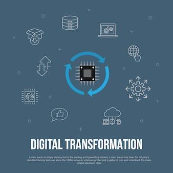 Digitale transformatie trendy ui plat concept met eenvoudige lijnpictogrammen. bevat elementen als digitale diensten, internet, cloud computing, technologie en meer
