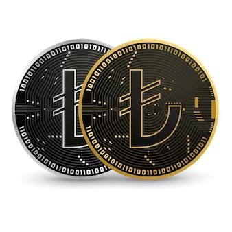 Digitale turkse lira zwart gouden munt