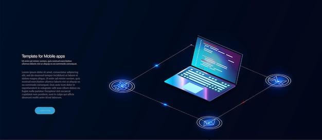 Digitale valuta of cryptocurrency-mijnbouwboerderij. aanmaken van bitcoins. crypto-mijnbouw, blockchain-concept. bestemmingspagina voor cryptovalutamarkt. hologram van een bitcoin-munt op een blauwe futuristische achtergrond
