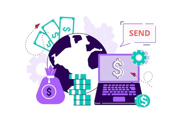 Digitale valutawissel, financiën, digitale geldmarkt, cryptocoin-portemonnee, beurs, online geldoverdracht. vlakke stijl modern design illustratie voor webpagina, kaarten, poster.
