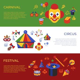 Digitale vectorcarnaval en circus eenvoudige pictogrammen, vlakke stijlinfographics