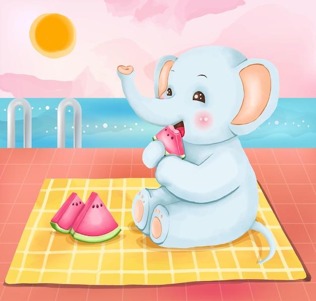 Digitale verf blauwe olifant zittend en etend watermeloen