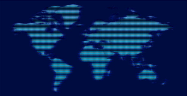 Digitale wereldkaart gemaakt met gloeiende lijnen