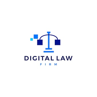 Digitale wet schalen van justitie logo vector pictogram