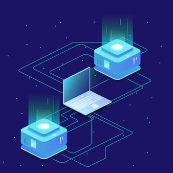 Digitale wetenschap, serverruimte, cloudopslag, gegevensuitwisseling, computergeheugen, isometrische abstracte verlichting