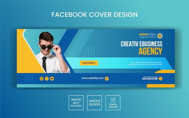 Digitale zakelijke marketing facebook omslagsjabloon