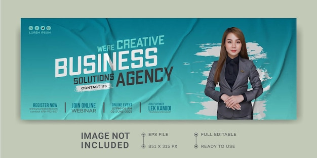 Digitale zakelijke marketing promotie ontwerpsjabloon facebook cover live webinar digitale marketing