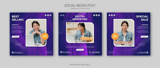 Digitale zakelijke marketing sociale media post-sjabloon