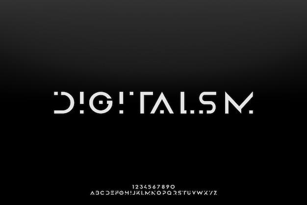 Digitalisme, een abstract futuristisch alfabetlettertype met technologiethema. modern minimalistisch typografieontwerp