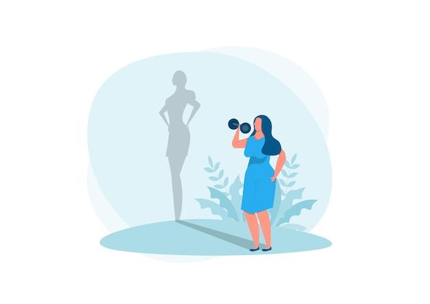 Dikke dame oefenen met schaduw fit reflectie. vector geïsoleerde illustratie