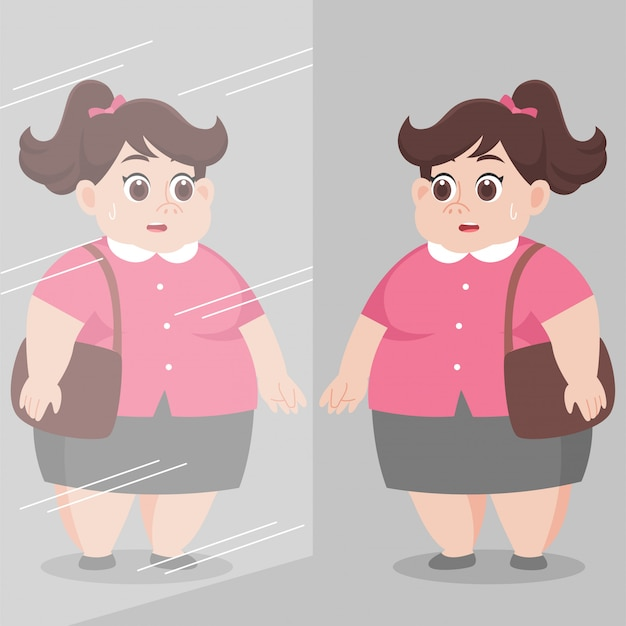 Dikke dikke vrouw die zichzelf in de spiegel kijkt en zich zorgen maakt