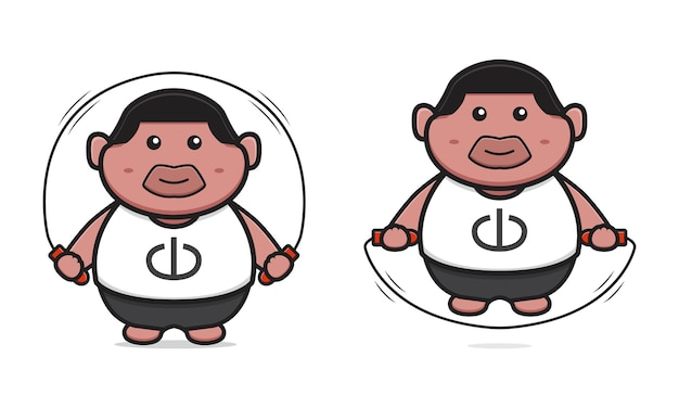 Dikke jongen overslaan cartoon pictogram vectorillustratie. ontwerp geïsoleerde platte cartoonstijl