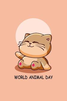 Dikke kat in cartoonillustratie van werelddierendag
