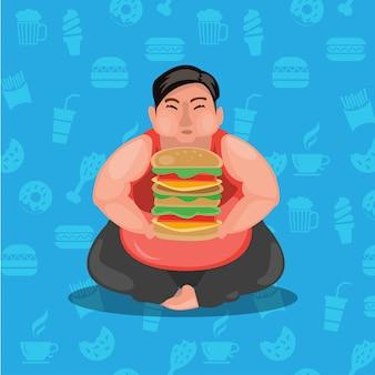Dikke kerel en hamburger. zwaarlijvigheid man en burger. illustratie