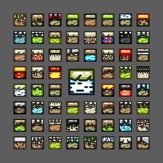 Dikke lijntegelreeksen voor videogame