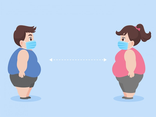 Dikke man en dikke vrouw nieuw normaal leven mensen in het dragen van een chirurgisch beschermend medisch masker om coronavirus te voorkomen, gezondheidszorgconcept.