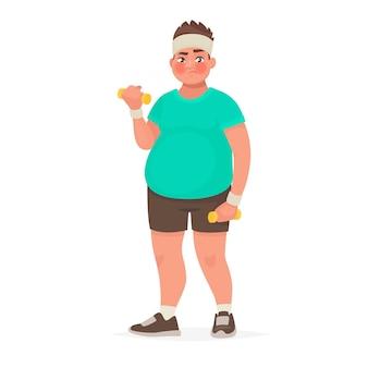 Dikke man houdt zich bezig met fitness. de man met overgewicht doet oefeningen met halters. in cartoon-stijl