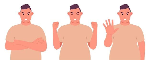 Dikke man in verschillende poses toont de emotie van agressie. boos mannelijk karakter. vector illustratie.