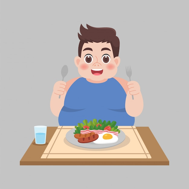 Dikke man klaar om voedsel te eten