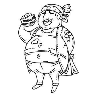 Dikke man met hamburger.