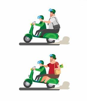 Dikke man op motorfiets, ga aan de slag met online transport in cartoon afbeelding