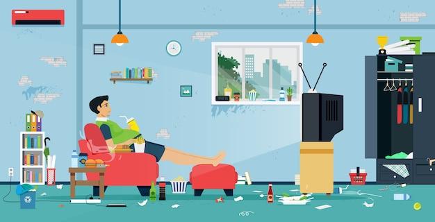Dikke mannen kijken tv in een kamer vol eten en vuil