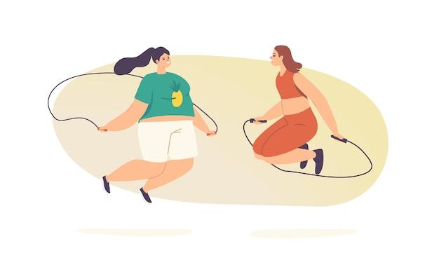 Dikke meisjes in sportkleding betrekken fitness activiteit springen met touw geïsoleerd op een witte achtergrond. overgewicht vrouwen karakters gezond sportleven, jumping workout training class. cartoon vectorillustratie