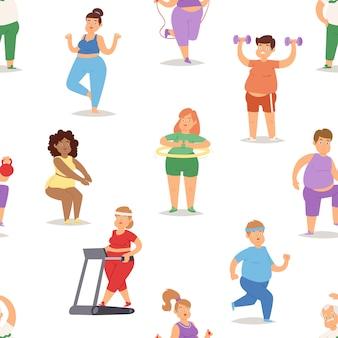 Dikke mensen doen oefening training gym gymnasium sport vet voedsel rijk karakter training illustratie naadloze patroon achtergrond