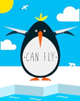 Dikke pinguïn wil vliegen