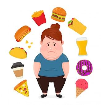 Dikke trieste jonge vrouw omringd door ongezond voedsel.