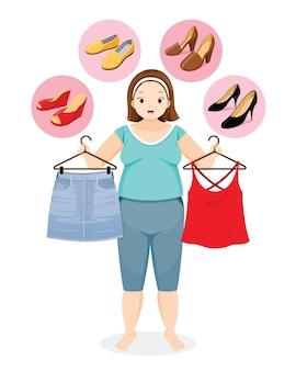Dikke vrouw besluit de juiste schoenen voor haar kleding te kiezen