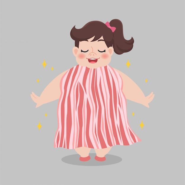 Dikke vrouw die baconkleding draagt