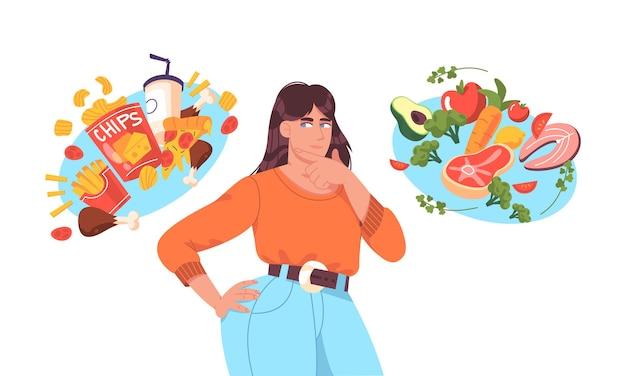 Dikke vrouw die tussen goed gezond en slecht ongezond voedsel kiest. junkfood versus uitgebalanceerd menu-voedingsvergelijkingsconcept. vrouwelijk vlak karakter denkend aan dieet, extra calorieën of gewichtsverlies.