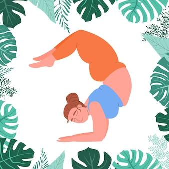 Dikke vrouw doet yoga in monsterablad selflove fitness en overgewicht dik meisje in yoga